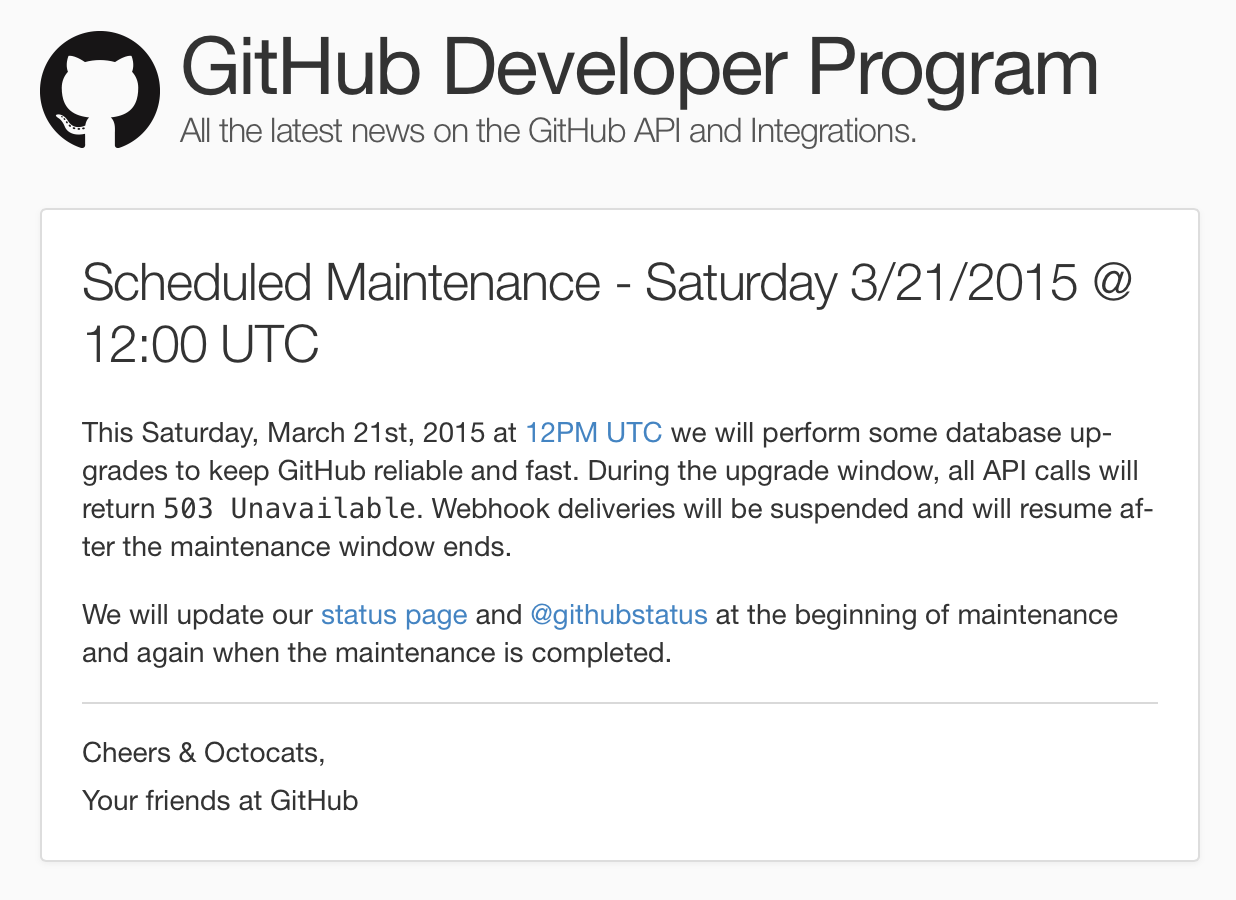 GitHub Scheduled Maintenance – Saturday 3/21/2015 @ 12:00